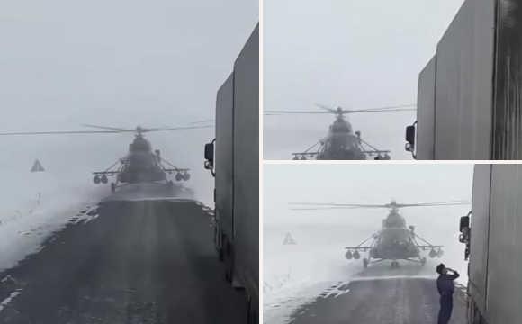 直升机飞行员拦货车问路!搞笑了!